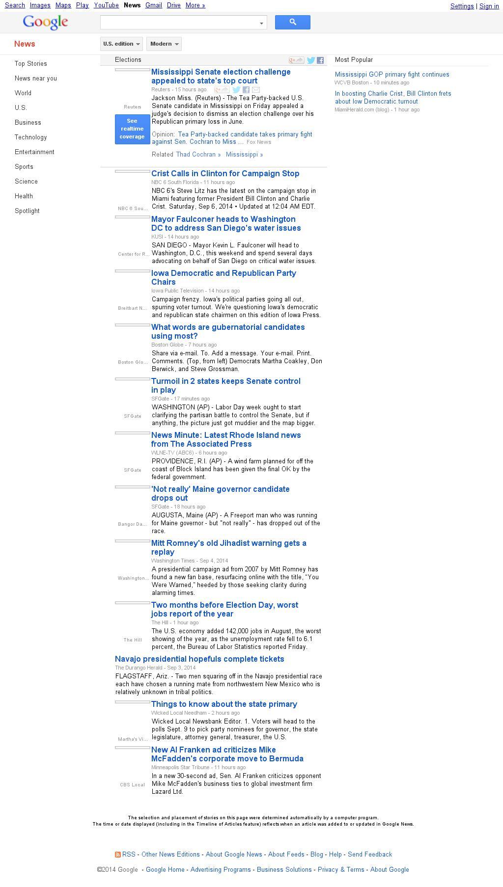 Google News: Elections at Saturday Sept. 6, 2014, 2:05 p.m. UTC