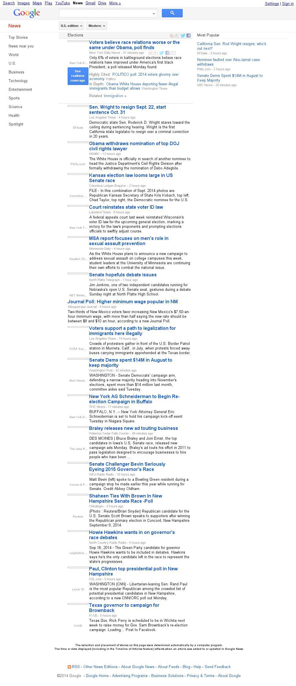 Google News: Elections at Tuesday Sept. 16, 2014, 10:05 a.m. UTC