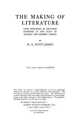 The Making Of Literature By Rolfe Arnold Scott-James